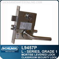 Schlage L9457P/LV9457P - GRADE 1 MORTISE LEVERED LOCK - Classroom Security with Deadbolt - Escutcheon Trim - M Collection Levers