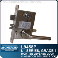 Schlage L9458P/LV9458P - GRADE 1 MORTISE LEVERED LOCK - Classroom Security with Deadbolt and Auxiliary Latch - Escutcheon Trim - M Collection Levers