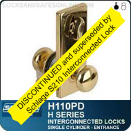Schlage H110PD - CYLINDRICAL INTERCONNECTED LOCK - Single Cylinder - Entrance Lock
