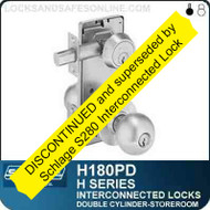 Schlage H180PD - CYLINDRICAL INTERCONNECTED LOCK - Double Cylinder - Storeroom Lock