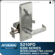 Schlage S210PD - Interconnected Lock - Single Cylinder - Entrance Lock