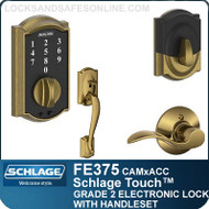 Schlage FE375-CAM-ACC - Camelot Style Touch Entry Handleset with Accent Lever