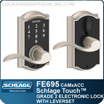 Schlage FE695-CAM-ACC - Camelot Style Schlage Touch™ Entry Leverset with Accent Lever