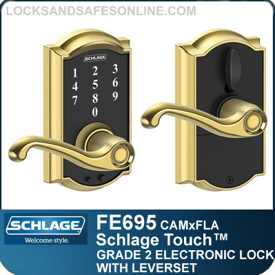 Schlage FE695-CAM-FLA - Camelot Style Schlage Touch™ Entry Leverset with Flair Lever