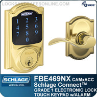 Schlage FBE469NX-CAM-ACC - Camelot Style Schlage Connect™ and Accent Lever - (Deadbolt with Built-in Alarm and Passage)