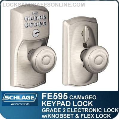 Schlage FE595-CAM-GEO - Camelot Style Keypad Georgian Knob with Flex Lock