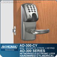 Schlage AD-300-CY-MGK (Magnetic Stripe - Insert + Keypad) Electronic Cylindrical Locks
