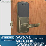 Schlage AD-300-CY-MT (Multi-Technology   Proximity and Smart Card) Electronic Cylindrical Locks