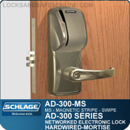Magnetic Stripe - Swipe | Schlage AD-300-MS-MS Networked Electronic Mortise Locks