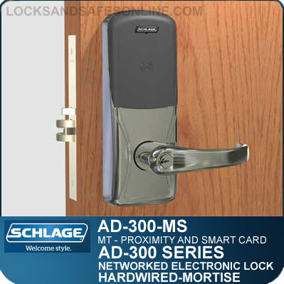 Multi-Technology - Proximity and Smart Card | Networked Electronic Mortise Locks | Schlage AD-300-MS-MT