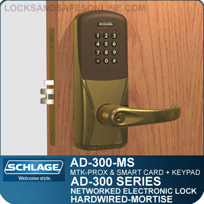 Schlage AD-300-MS-MTK (Multi-Technology + Keypad | Proximity and Smart Card) Electronic Mortise Locks