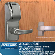 Schlage AD-300-993R - NETWORKED HARDWIRED EXIT TRIM - Exit Rim/Concealed Vertical Rod/Concealed Vertical Cable - Magnetic Stripe (Swipe)