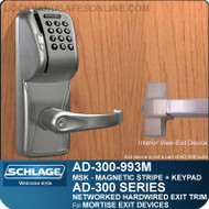 Schlage AD-300-993M - NETWORKED HARDWIRED EXIT TRIM - Exit Mortise Lock - Magnetic Stripe (Swipe) + Keypad