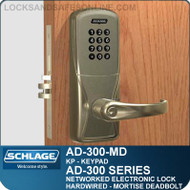 Schlage AD-300-MD-KP (Keypad) Networked Electronic Mortise Deadbolt Locks