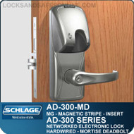 Schlage AD-300-MD-MG (Magnetic Stripe - Insert) Networked Electronic Mortise Deadbolt Locks