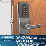 Schlage AD-301-MS - Networked Hardwired Mortise Locks - FIPS 201-1 Multi-Technology + Keypad | Proximity and Smart Card