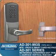 Schlage AD-301-993S - Networked Hardwired Exit Trim - Exit Surface Vertical Rod - FIPS 201-1 Multi-Technology + Keypad | Proximity and Smart Card