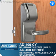 Schlage AD-400-CY - Networked Wireless Cylindrical Locks - Magnetic Stripe (Swipe)