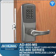 Schlage AD-400-MS - Networked Wireless Mortise Locks - Multi-Technology + Keypad | Proximity and Smart Card