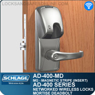 Schlage AD-400-MD - Networked Wireless Mortise Deadbolt Locks - Magnetic Stripe (Insert)