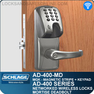 Schlage AD-400-MD - Networked Wireless Mortise Deadbolt Locks - Magnetic Stripe (Insert) + Keypad