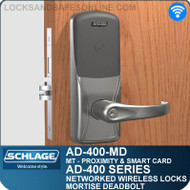 Schlage AD-400-MD - Networked Wireless Mortise Deadbolt Locks - Multi-Technology | Proximity and Smart Card