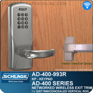 Schlage AD-400-993R - Networked Wireless Exit Trim - Exit Rim/Concealed Vertical Rod/Concealed Vertical Cable - Keypad