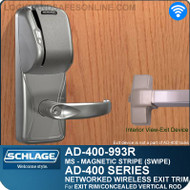 Schlage AD-400-993R - Networked Wireless Exit Trim - Exit Rim/Concealed Vertical Rod/Concealed Vertical Cable - Magnetic Stripe (Swipe)