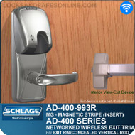 Schlage AD-400-993R - Networked Wireless Exit Trim - Exit Rim/Concealed Vertical Rod/Concealed Vertical Cable - Magnetic Stripe (Insert)