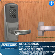 Schlage AD-400-993S - Networked Wireless Exit Trim - Exit Surface Vertical Rod - Multi-Technology + Keypad | Proximity and Smart Card