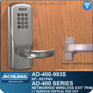 Schlage AD-400-993S - Networked Wireless Exit Trim - Exit Surface Vertical Rod - Keypad