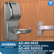 Schlage AD-400-993S - Networked Wireless Exit Trim - Exit Surface Vertical Rod - Magnetic Stripe (Swipe)
