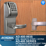 Schlage AD-400-993S - Networked Wireless Exit Trim - Exit Surface Vertical Rod - Magnetic Stripe (Swipe) + Keypad