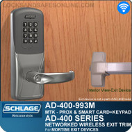 Schlage AD-400-993M - Networked Wireless Exit Trim - Exit Mortise Lock - Multi-Technology + Keypad | Proximity and Smart Card