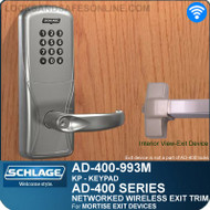 Schlage AD-400-993M - Networked Wireless Exit Trim - Exit Mortise Lock - Keypad
