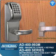 Schlage AD-400-993M - Networked Wireless Exit Trim - Exit Mortise Lock - Magnetic Stripe (Swipe) + Keypad