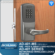 Schlage AD-401-MS - Networked Wireless Mortise Locks - FMK (FIPS 201-1 Multi-Technology + Keypad | Proximity and Smart Card)