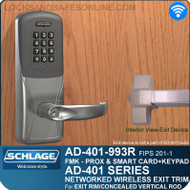 Schlage AD-401-993R - Networked Wireless Exit Trim - Exit Rim/Concealed Vertical Rod/Concealed Vertical Cable - FMK (FIPS 201-1 Multi-Technology + Keypad | Proximity and Smart Card)