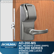Schlage AD-200-MS - Standalone Mortise Locks - Magnetic Stripe (Swipe)