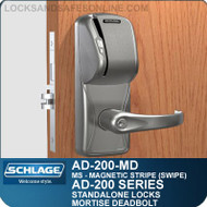 Schlage AD-200-MD - Standalone Mortise Deadbolt Locks - Magnetic Stripe (Swipe)