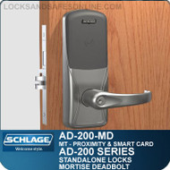 Schlage AD-200-MD - Standalone Mortise Deadbolt Locks - Multi-Technology | Proximity and Smart Card