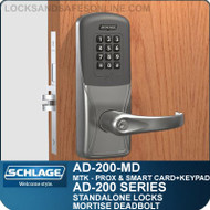 Schlage AD-200-MD - Standalone Mortise Deadbolt Locks - Multi-Technology + Keypad | Proximity and Smart Card