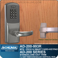 Schlage AD-200-993R - Standalone Exit Trim - Exit Rim/Concealed Vertical Rod/Concealed Vertical Cable - Multi-Technology + Keypad | Proximity and Smart Card