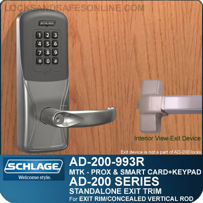 Schlage AD-200-993R - Standalone Exit Trim - Exit Rim/Concealed Vertical Rod/Concealed Vertical Cable - Multi-Technology + Keypad   Proximity and Smart Card