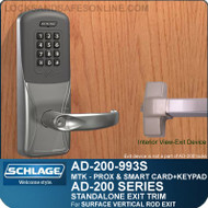 Schlage AD-200-993S - Standalone Exit Trim - Exit Surface Vertical Rod - Multi-Technology + Keypad | Proximity and Smart Card