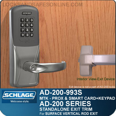 Schlage AD-200-993S - Standalone Exit Trim - Exit Surface Vertical Rod - Multi-Technology + Keypad   Proximity and Smart Card