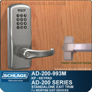 Schlage AD-200-993M - Standalone Exit Trim - Exit Mortise Lock - Keypad