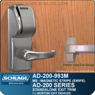 Schlage AD-200-993M - Standalone Exit Trim - Exit Mortise Lock - Magnetic Stripe (Swipe)