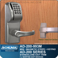 Schlage AD-200-993M - Standalone Exit Trim - Exit Mortise Lock - Magnetic Stripe (Swipe) + Keypad