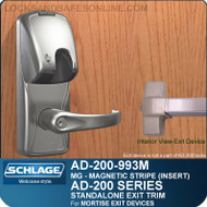 Schlage AD-200-993M - Standalone Exit Trim - Exit Mortise Lock - Magnetic Stripe (Insert)